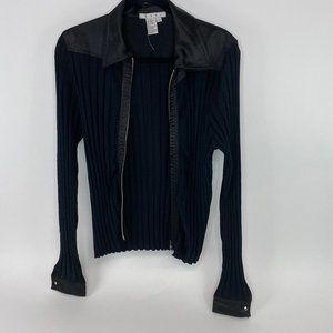 Cabi ribbed full zip long sleeve sweater